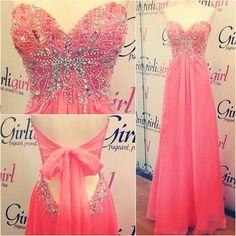 watermelon prom dress, sweet heart prom dress, beading
