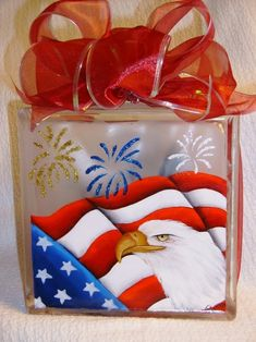 Patriotic Glass Block by zelma Painted Glass Blocks, Decorative Glass Blocks, Lighted Glass Blocks, Hand Painted, Patriotic Crafts, Patriotic Decorations, July Crafts, Holiday Crafts, Holiday Ideas