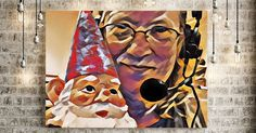 The radio host with the garden gnome.