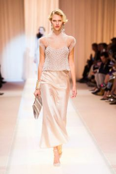 Armani #Fall 2013 #Couture. This look would pair perfectly with the Stella collection from #Brera! With White exotic mother of pearl face and rose gold metallic rubber strap, this looks is effortlessly Fall.