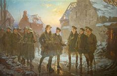 A Relieved Platoon of 1/5th Battalion, Gloucestershire Regiment, at Hébuterne, France, c.1916Fred Roe (British, 1864–1947) Oil on canvas, 10...