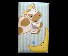 Nursery Rhymes Light Switch Cover Cow Jumps Over the Moon Story Book Kidsline Theme Nursery Decor on Etsy, $10.00