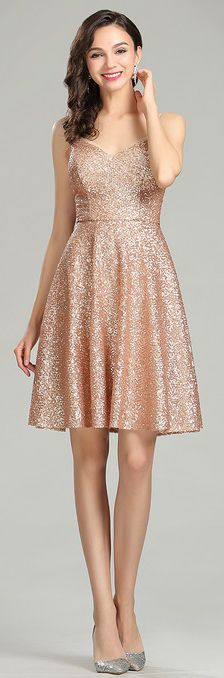 Strapless Gold Sequin Dress for Prom at SimplyDresses.com | cocktail ...
