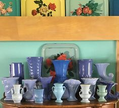 "Karen Fitzpatrick on Instagram: ""Good Monday morning! Sharing shades of blue vases for the last day of #theretroroulette *VASES* theme. The pineapple shaped one in the back…"""