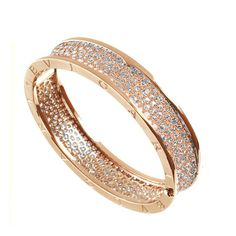 Bvlgari Rose Gold Pave Diamond Bangle