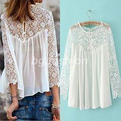 Mujeres Camiseta de Gasa con Encaje Blusa manga larga Hueco Blanco S M L XL XXL: