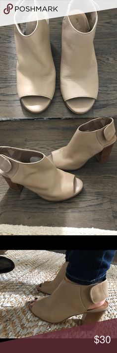 Matisse tan open toe bootie Worn only Twice. Beautiful shoes. Great for fall🍂🍁. 🚫trades offers only through the offers option matisse Shoes Ankle Boots & Booties