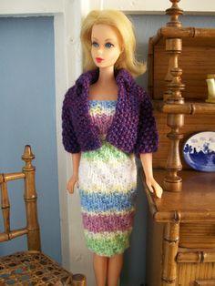 Barbie clothes - pastel stripe dress with purple jacket via Etsy