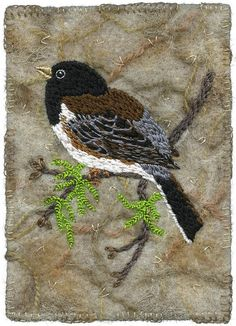 "Hand embroidered junco, cotton floss. The background is felted with an embellisher machine. Made with synthetic felt, wool yarns, and bits of cloth that are trapped in the felt, with some additional hand embroidery. 3 ½"" x 5"" 9"" x 11"" framed SOLD"