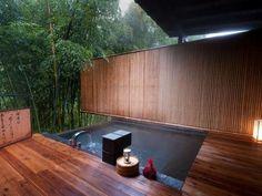 bathrooms - japanese, garden, bamboo, jacuzzi, asian, bathtub, tub, japanese bathtub bamboo garden view