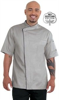 Style # 621818: STONE GREY W/ BLACK: Men's Concealed Snaps Chef Coat - Hidden Snap Front - 100% Egyptian Cotton