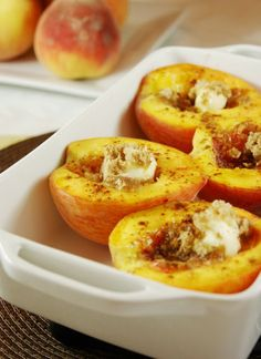 Brown Sugar Baked Peaches - Directions: Halve peaches and remove pits.  Place in baking dish, skin side down.  Place 1/2 teaspoon butter in the hollow of each peach and top each peach with 1 or 2 teaspoons brown sugar and then sprinkle with cinnamon.  Bake at 375 for  30 min or until peaches are tender.  Enjoy!