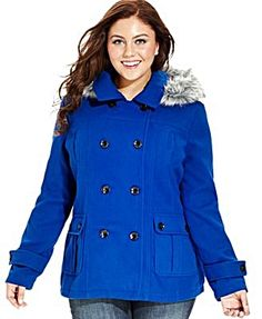 London Fog Coat, Double-Breasted Pea Coat & Plaid Scarf - Coats ...