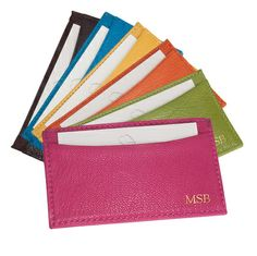Personalized Bright Leather Card Cases