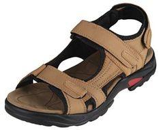 sandales garcon cuir veritable Kaki Hommes chaussures d'ete,Taille 38