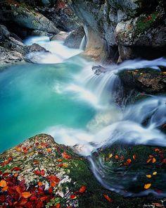 Green blue Soca river