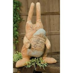 Primitive Stuffed Bunny with Happy Easter Egg