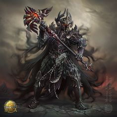 Dark warrior by gugu-troll Fantasy Concept Art, Fantasy Armor, Fantasy Weapons, Dark Fantasy Art, Medieval Fantasy, Myths & Monsters, Monster Book Of Monsters, Orc Armor, Knight Art