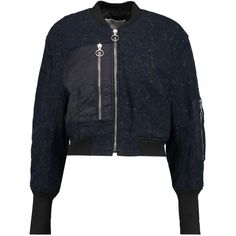 3.1 Phillip Lim Shell-paneled quilted corded lace jacket (1,530 ILS) ❤ liked on Polyvore featuring outerwear, jackets, navy, cropped jacket, navy cropped jacket, 3.1 phillip lim jacket, zipper jacket and zip jacket