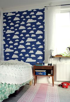 Papier peint autocollant / Stickers mural nuage chambre d'enfant / Self adhesive vinyl temporary removable wallpaper, wall decal - Blue sky print - 031 Cloud Wallpaper, Temporary Wallpaper, Nursery Decor, Wall Decor, Backdrop Decor, Cloud Fabric, Kids Decor, Home Decor, Kid Spaces