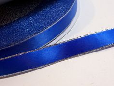 Offray Royal Blue Silver Edge Pink Double-Faced Satin Ribbon 5/8 inch wide x 100 yards, Full Bolt by GriffithGardens on Etsy