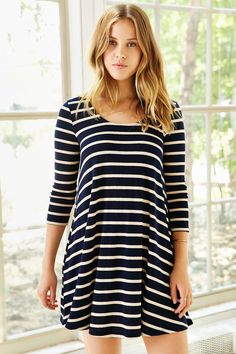 BDG 3/4 Sleeve Swingy Tee Dress - Urban Outfitters