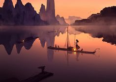 Hanyijie, Lamp, Scenery, Mountains, Boat, River
