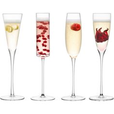 LSA Lulu Champagne Set Of 4 Glasses ($63) ❤ liked on Polyvore featuring food, food and drink, drinks, fillers and food & drinks