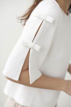 40 Latest Sleeve Designs to Try With Kurtis Kurti Sleeves Design, Sleeves Designs For Dresses, Sleeve Designs, Blouse Designs, White Blouse With Bow, Cut Up Shirts, Bow Shirts, Fashion Details, Fashion Design