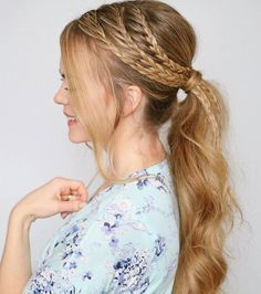 Ponytail w/ Three Side Braids -- 30 Fantastic French Braids : therighthairstyles