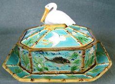 George Jones Majolica Pelican Finial Sardine Box