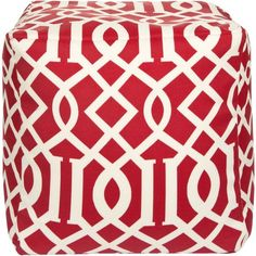 Surya Moroccan Red Pouf By ($175) ❤ liked on Polyvore featuring home, furniture, ottomans, square footstool, patterned ottoman, moroccan footstool, red ottoman and moroccan style outdoor furniture