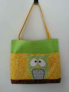 Large Spring Owl bag. 100% washable!  Four large pockets one inside three outside!