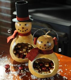 Pair of Snowmen Candy Dish Decorative Gourds