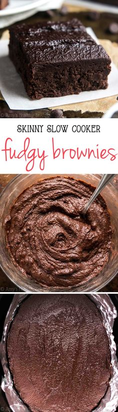 Skinny Slow Cooker Fudgy Brownies -- the BEST recipe you'll ever make in a crockpot! Super easy! And they don't taste healthy at all!