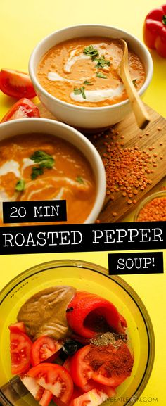 This Roasted Red Pepper Soup recipe draws inspiration from the delicious Spanish pepper sauce, romesco! With smoky roasted peppers, juicy Roma tomatoes, and a dollop of almond butter, this is a creamy soup that gets a delicious dinner on the table (in under 15 minutes!) #easydinner #vegan #vegetarian #glutenfree #soup via @live_eat_learn