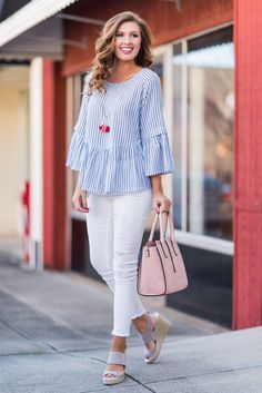 """""""Collect The Moments Top, Black""""You will collect so many fab memories in this top! It's so presh with it's flounced sleeves and classic black and white stripes! #newarrivals #shopthemint"""