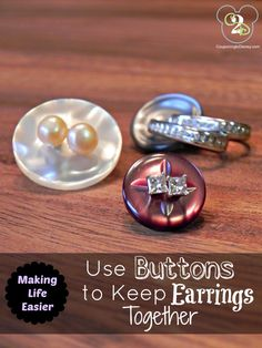 Using buttons to keep earrings together is such a simple idea that I wish I had known years ago. Jewellery Display, Jewellery Storage, Jewelry Organization, Organization Hacks, Earring Storage, Organizing Ideas, Jewelery, Diy Jewelry, Things To Know