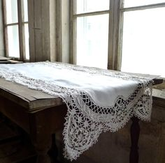 Linen and Crochet Lace Table Runner Scarf by marybethhale on Etsy