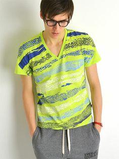 JUST cavalli ジャストカヴァリ ヘビ柄 プリント Vネック Tシャツ メンズ (2014SS)