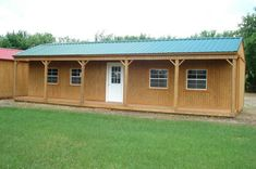 This darling portable cabin with full-length from porch is perfect for a bunk house, home office, hunting cabin, playhouse, storage shed - you name it. 'Grandview Buildings' offers the 'Side Porch Cabin' up to 16 x 40 in size - and it is still portable! Storage Building Homes, Portable Storage Buildings, Portable Cabins, Building A Shed, Shed House Plans, Free Shed Plans, Cabin Plans, Converted Shed, Shed Blueprints