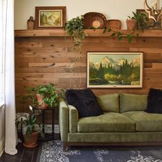 We love this Wheat Wall with its plant ledge at top! The soothing greens harmonize with golden browns. Photo and design by Aubrey @thealteredabode Living Room Goals, Small Living Rooms, Living Room Designs, Living Room Decor, Green Velvet Sofa, Green Sofa, Brown And Green Living Room, Living Room Inspiration, Cozy House