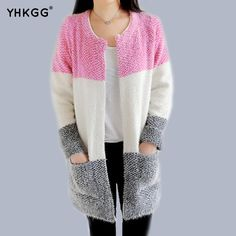 YHGGG 2016 Autumn and Winter New Korean Female Tri-color Stripes Stitching Loose Knit Cardigan Sweater Women