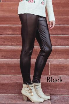 Our best selling leggings, these chic and timeless faux leather leggings will be your go to outfit all fall and winter long! We adore these layered with tunics, coats, and sweaters! Low booties add that perfect chic fashionista look that is totally Pinterest worthy! Leggings feature an elastic waist and is made of a medium weight pleather material that is form fitting and has great stretch. Size Options: Small/Medium: Fits size 0-8Large/X Large : Fits size 8-12Model ...