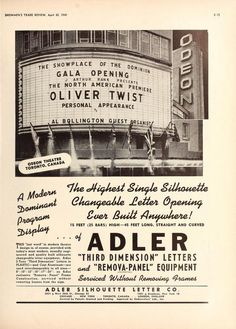 Odeon Theatre, Toronto, Canada, From Showmen's Trade Review, April 30, 1949 #odeon #toronto #olivertwist #canada #marquee #theatretalks