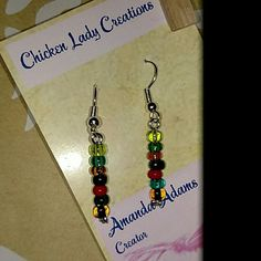 Earrings Hand beaded multicolored Accessories