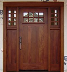 front door idea, no window on the door, one side window on left, check into wood types, knotty alder to match interior doors or go totally different?.