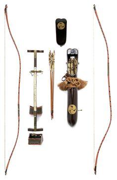 A pair of yumi (bows), a yazutsu (enclosed arrow-quiver) and an ebira (quiver) 19th century, Japan