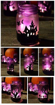 DIY Upcycled Halloween Village Luminaries ähnliche tolle…