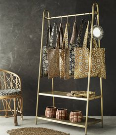 Brass Clothes Rail With A Shelf Pre Order For June by The Forest & Co, the perfect gift for Explore more unique gifts in our curated marketplace. Clothes Rail With Shelves, Open Wardrobe, Boutique Decor, Boutique Interior, Hallway Storage, Bedroom Storage, Deco Originale, How To Iron Clothes, Hanging Clothes